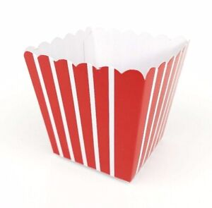 Small 7cm Popcorn Boxes Mini Cute Card Food Red and White Striped Party Kids