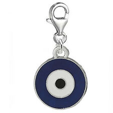 Evil Eye Clip on Pendant for European Charm Jewelry w/ Lobster Clasp