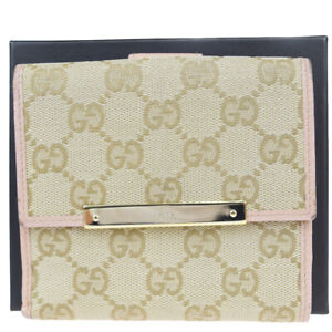 Auth Gucci GG Pattern Sherry Leather,Canvas Wallet (bi-fold) Beige 08FB069