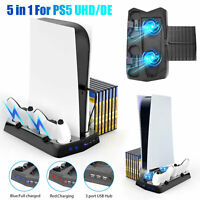 5 in 1 Vertical Stand+Cooling Fan+Charging Station+3 USB Hub for Sony PS5 UHD/DE