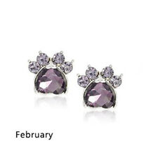 Ohrstecker Ohrring Hundepfote silberfarbiges Metall Zirkonia lila Monat Februar