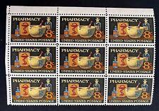 US Stamps, Scott #1473 8c 1972 Block of 9  'Pharmacy' VF/XF M/NH