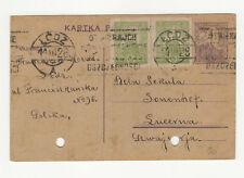 Pologne 2 timbres & 1 entier postal sur carte postale 1926 /L365