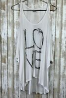 LAUREN MOSHI White Love As Nails Cold Shoulder Flowy Oversized Top Shirt S Small