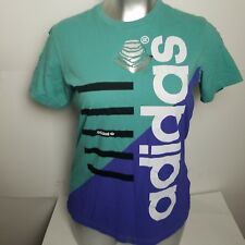 0a51747c7ef06 Adidas Womens XL Destroyed T-Shirt Trefoil Colorblock Teal Purple Cut Out