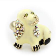 Enamel jewelry Betsey Johnson charm rhinestone Cute puppy golden rings women hot