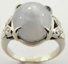 LADIES 14K WHITE GOLD GREY STAR SAPPHIRE DIAMOND RING SIZE 7 1/4