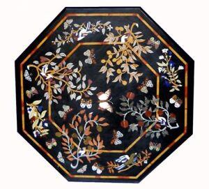 "30"" marble black Table Top semi precious stones Inlay handmade  work room decor"