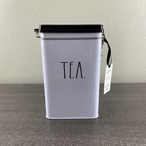 Rae Dunn TEA Tin Canister Black & White Hinged Opening Metal Closure NWT