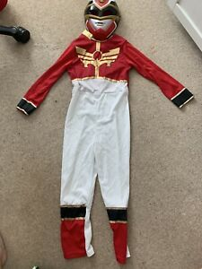 Power Rangers Red Megaforce Fancy Dress Up Costume. Age 7-8 With Mask No23