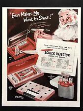 1950 Vintage Print Ad SCHICK Injector Razor Blade Shaving Santa Image Art