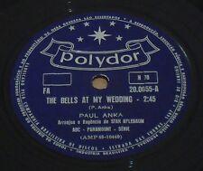 "PAUL ANKA 1961 The Bells At My Wedding/ Loveland RARE! 10"" Ex 78 RPM BRAZIL"