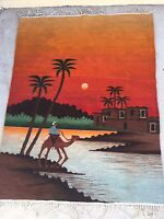 Vintage Egyptian Huge 100% Wool Tapestry Klim Oasis,Camel Handmade of Siwa Egypt