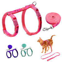 Soft Nylon Cat Harness and Leads set Cute Fish Print for Kitten Kitty Pink Blue