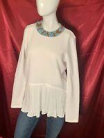 Women's LC Lauren Conrad Sweater W/ Ruffle Bottom Beautiful White Size Medium
