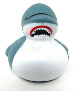 "Shark Rubber Duck 2"" Wild Ocean Animal Aquarium Ducky Squirter Jaws Spa Bath Toy"