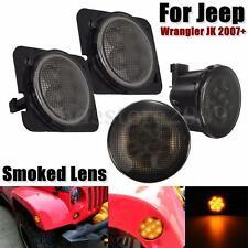 2x Smoked LED Turn Signal Light + 2x Fender Side Light For Jeep Wrangler 07-15