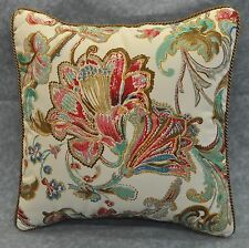 "Ralph Lauren Antigua Floral Cotton Custom Pillow 16"" with cording NEW"