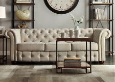 Beige Sofa Upholstered Linen Tufted Restoration Style Chesterfield Design Couch