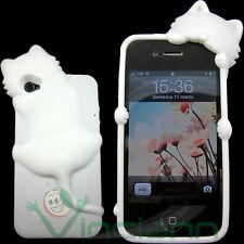 Custodia cover silicone KIKI gatto BIANCO per iPhone 4 4S case flessibile