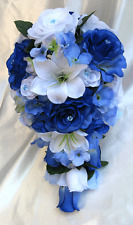 Wedding Cascade Bouquet Bridal Silk flowers ROYAL BLUE WHITE LILY 17pc package