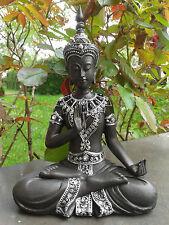 Thai Buddha Lotussitz Erdmudra schwarz silber Figur Feng Shui Statue 22 cm NEU