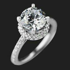 Cut 14k White Gold Size 7.5 Moissanite Diamond Engagement Ring 1.80 Ct Round