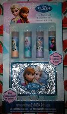 NEW Disney FROZEN Elsa Anna 4 pc Lip Balm Set w Glitter Case!