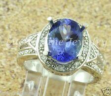 SLICK 3.35 ct AAAA TANZANITE & DIAMOND RING 14k white gold made in USA  classy