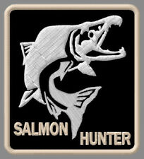 "SALMON HUNTER EMBROIDERED PATCH ~3-3/8"" x 3"" BRODÉ MUOKKAA BRODERAD FISHING ROD"