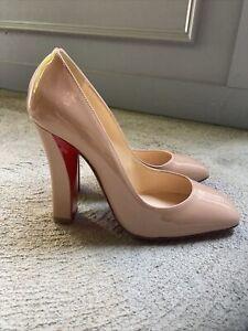 Size 37 $695 Christian Louboutin Lady Gena 85 Nude Patent Leather Pumps