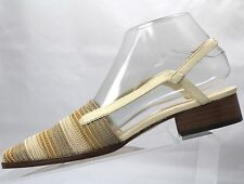 "Talbots Womens Canvas 1"" Heel Multi Beige Stripes Shoes Sandals Spain Size:8 #45"