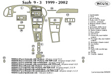 SAAB 9-3 1999 2000 2001 2002 DASH TRIM KIT b