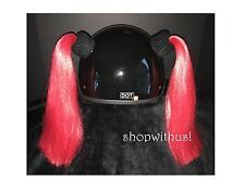 Custom Made Red or Burgundy Helmet Pigtails ~Motorcycle Skate Bike~25% More Hair