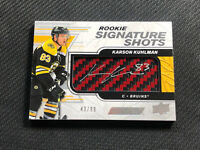 2019-20 UD ENGRAINED KARSON KUHLMAN ROOKIE SIGNATURE SHOTS AUTO RED #ed 43/99