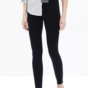 NWT Madewell Knit Leggings Solid Black Cotton Stretch Pull On Pants Stretch S