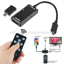 MHL Micro USB to HDMI HDTV Adapter + Remote Control For Samsung Galaxy S3 S4 S5
