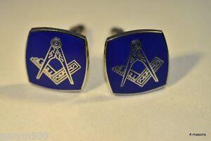 Masonic Cufflinks  square & compass design against blue enamel background