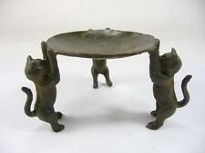Collectible Decorated Old Handwork Bronze Carved 3 Cat Climb Plate Candle Stick