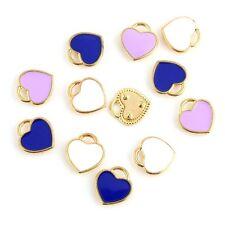 10Pcs Colorful Enamel Heart Pendant Charm DIY Earring Necklace Jewelry Findings
