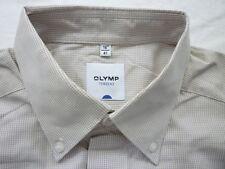 E7928 Olymp Tendenz Businesshemd Kombimanschette 41 beige, braun kariert Neuw.