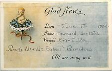 Antique 1922 Postcard, Baby Birth announcement #B41q