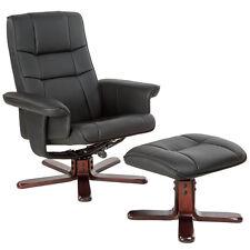 Fauteuil relax TV avec pouf tabouret avec pied en bois chaise relaxation noir