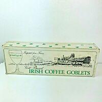 "Vintage Irish Coffee Glasses Green Lettering 6"" Goblet Gold Rimmed Set Of 6"