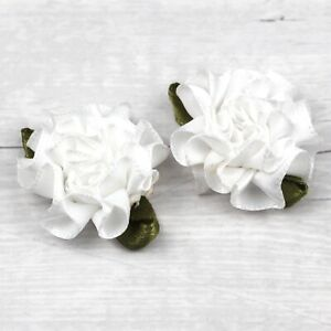 12/50pcs Small Satin Ribbon Carnation Flower Appliques/craft/Wedding decoration