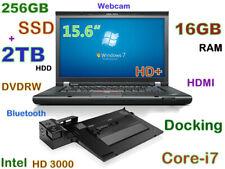 "# Thinkpad T520 i7-2.70GHz (256GB SSD + 2TB) 16GB DVDRW 15.6"" HD+ HDMI Docking"