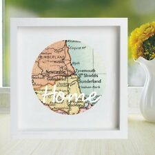 Vintage Map Framed Circle Displaying Your Chosen Location