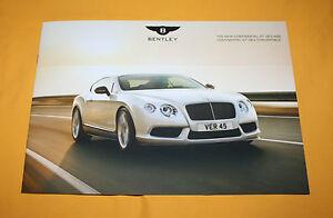 Bentley Continental GT V8 S 2013 English Brochure Prospetto Catalog Folder