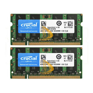 8GB Crucial Kit 2X 4GB 2RX8 PC2-6400 DDR2-800MHz 200pin SODIMM Laptop Memory @DD