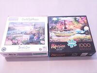 Lot of 2 Jigsaw Puzzles 1000 Pieces Buffalo Lighthouse Marine Color Hope Cove..